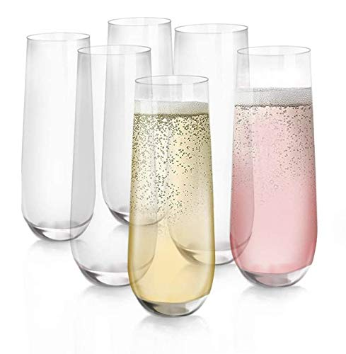 [6-Pack, 280ml/9.5 onces] Design·Master-Verres à flûte de Champagne sans Pied, Verres de Boisson sans Plomb, Verres à vin Tout Usage.