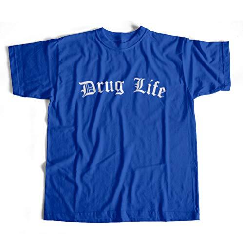 Dibbs Clothing Drogenleben Festival Weed Thug Life T-Shirt Custom Made To Order Top Erhältlich in Schwarz, Rot, Blau oder Grau DRL1901 Gr. XL, blau