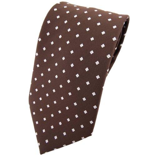 TigerTie stropdas bruin notenbruin zilver gestippeld met ruiten - Tie Binder