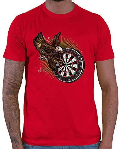 HARIZ Herren T-Shirt Dart Adler Bullseyes Dart Darten Dartscheibe WM Inkl. Geschenk Karte Rot XXL