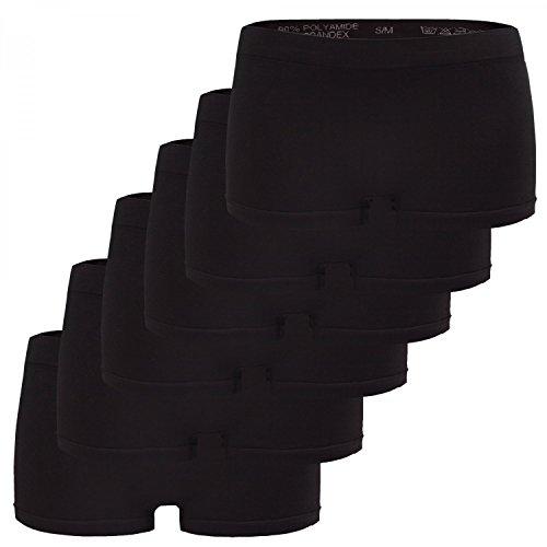 Fabio Farini Damen Panties 6er Pack Hipsters Boxershorts nahtlos, Seamless aus weichem Microfaser-Gewebe 6X Schwarz 40-42
