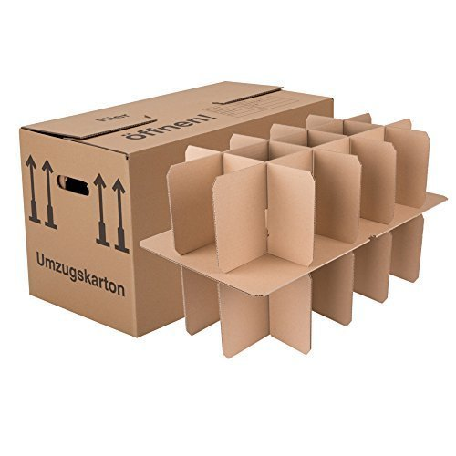 600 Gläserkartons mit 15 Fächern Flaschenkartons für Umzug Verpackung Umzugskartons thumbnail