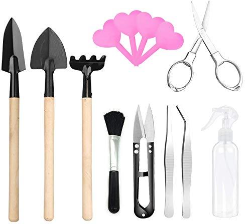 Kit de herramientas Bonsai para jardinería, mini herramientas para bonsais, incluye cortador, rastrillo, pala, pinzas, cepillo para la limpieza, botella de spray y etiqueta para plantas