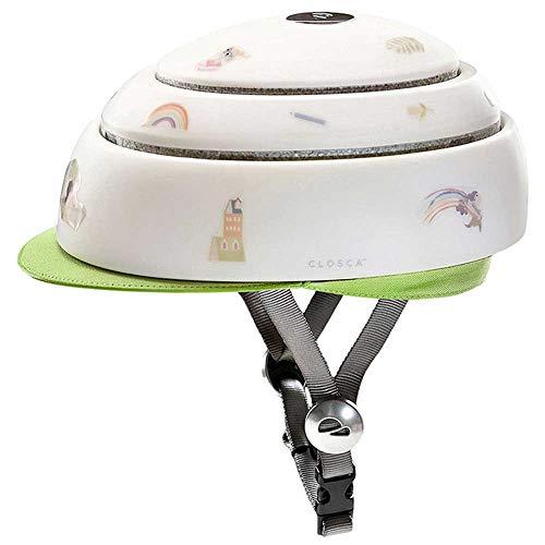 CLOSCA Helmet Kids Leaf Casco para Bicicleta Joven Unisex, Blanco Verde, 57-59