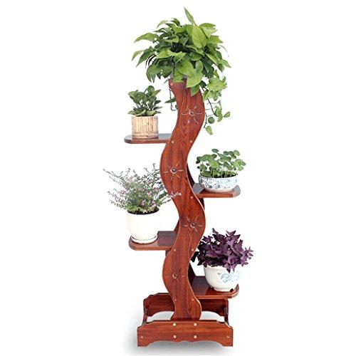 XUEYAN Cadre de Fleur de pin 5 Couches de Pot de Fleurs en Pot, Brun rougeâtre - 50x32x136cm