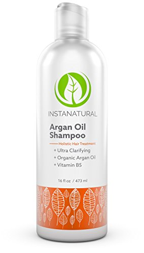 Argan Oil Shampoo - With 100% Certified Organic Moroccan Argan Oil & Vitamin B5 - Holistic Treatment for Soft & Silky Hair - Deluxe Nourishment to Hydrate Dry Scalp - InstaNatural - 16 OZ