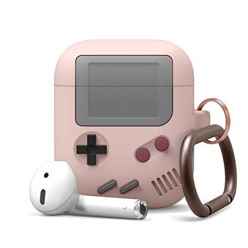 elago AW5 AirPods Hülle Silikon Case Kompatibel mit Apple AirPods Ladecase 2 & 1 - Design in der klassischen Handheld-Spielekonsole mit Schlüsselanhänger, Unterstützt Kabelloses Laden (Sandrosa)