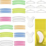 44pcs Eyelash Perming Curler Shield Pads Kit, 12 Pair 6 Sizes Lash lift Pads Silicone 12 Pack Eye Gel Pad Patches with 2 Pieces Y Shape Brushes and 3 Pair Lash Lift Rods Pads for Eyelash Lifting