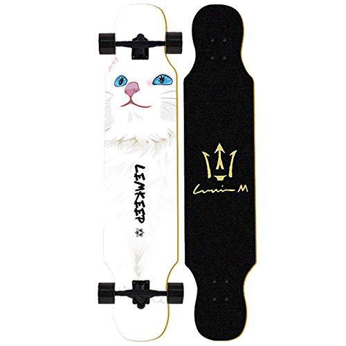 NLRHH Skateboard Longboard 43 Pulgadas Drop a través de la Cubierta Completa Maple Freestyle, Camber cóncavo, C Peng (Size : C)