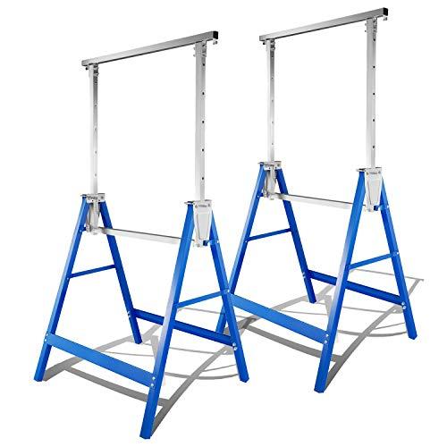 BMOT 2x Gerüstbock Arbeitsbock metall bis 250 kg/Paar Klappbock Gerüst Unterstellbock Stützbock höhenverstellbar von 80-130cm, mit Abrutschsicherung