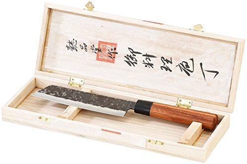 TokioKitchenWare Küchenmesser: Fleischmesser mit Echtholzgriff, handgefertigt (Nakiri)