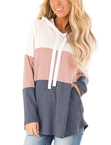 Blooming Jelly Damskie bluzy z kapturem w paski bloki kolorów długi rękaw tunika bluza ze sznurkiem sweter topy z kieszeniami, różowy, M