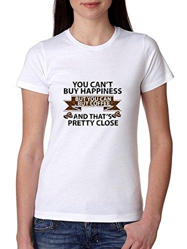 Kan geluk niet kopen, maar kan koffie kopen - grappig katoenen T-shirt voor dames