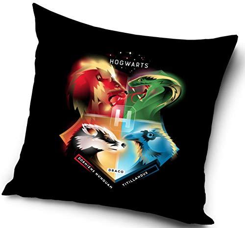 Harry Potter Kissenhülle Kissenbezug 40x40 cm (Schwarz Bunt)