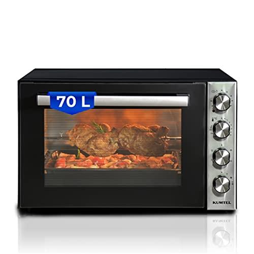 KUMTEL Minibackofen / Pizza-Ofen, 70 Liter XXL, 2000W Turbofunktion 6 Kochmodi, Drehspieß, Innenbeleuchtung, Doppelverglasung, max 270°C, Timer Funktion, Granit-Innenbeschichtung, inkl. Backblech Set