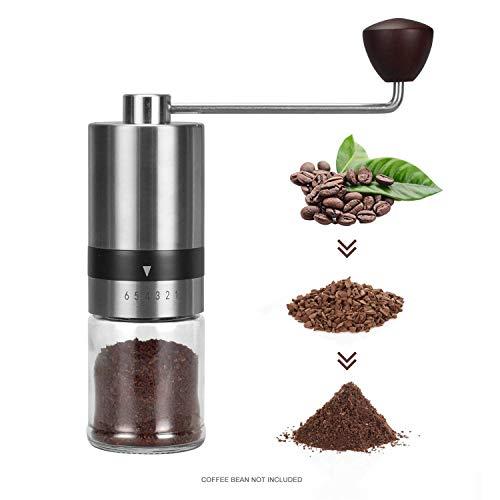Manual Burr koffiemolen Koffiemolens-6 Verstelbare Instelling Portable Handslinger koffieboon Molen voor Coffee Gift Espresso, Franse pers, Aeropress Koffie voor Hand Grinder,Roestvrij st.