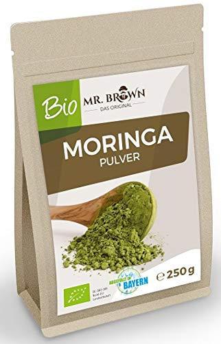 Mr. Brown BIO Moringa Pulver | Moringapulver | Blattpulver | aus kontrolliert biologischem Anbau | Beste Qualität aus Indien (250 GR)