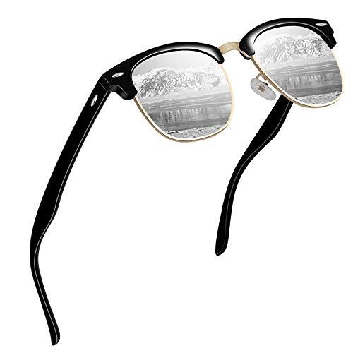 VVA Sonnenbrille Herren klassischer Retro-Halbrahmen Polarisiert Sonnenbrillen für Herren Damen V102(Schwarz Silber)