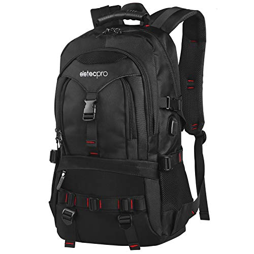 eletecpro 17.3 Inch Laptop Travel Backpack with USB Charging Port(Black)