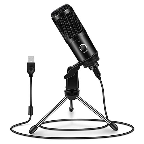 Micrófono PC, ARCHEER Micrófono USB Condensador Profesional con Soporte de Trípode para Grabación Vocal, Podcasting, Transmisión, TIK Tok, Video de Youtube para Laptop Desktop iMac PC,Negro