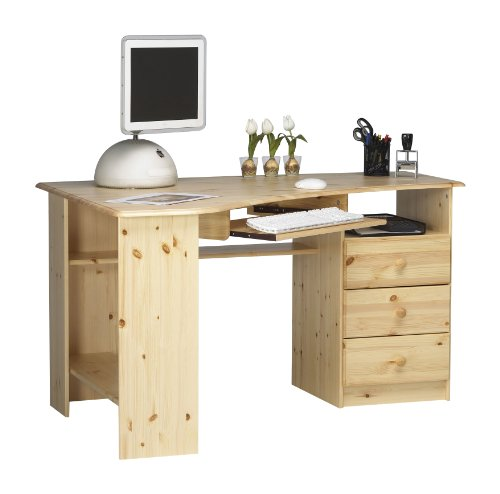 Steens Kent Schreibtisch/ Eckschreibtisch, 3 Schubladen, Tastaturauszug, 133 x 72 x 95 cm (B/H/T), Kiefer massiv, natur lackiert