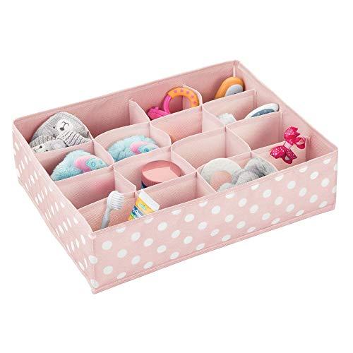 mDesign Cajas de almacenaje para Habitaciones Infantiles, baños y más – Cesta organizadora con 16 Compartimentos – Organizadora de armarios de Fibra sintética – Rosa/Blanco