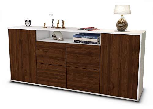 Stil.Zeit Sideboard Ephenia/Korpus Weiss matt/Front Holz-Design Walnuss (180x79x35cm) Push-to-Open Technik