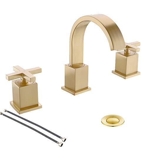 8 Inch 2 Handle Waterfall 3 Holes Brushed Gold Lead- Free Widespread Bathroom Faucet by Phiestina,Bathroom Sink Faucet with Metal Pop Up Drain and Water Supply Lines,WF001-10-BG