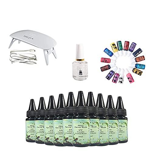 10 piezas de resina UV de cristal de 30 ml + aceite brillante + lámpara + 15 pigmentos para bricolaje hogar artesanía profesional joyería pendientes collar pulsera accesorios de arte de uñas