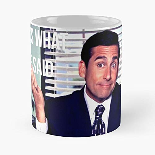 Taza de café de cerámica con texto en inglés 'Said She Thats Dwight What The Office' Funny Best de 315 ml, con texto en inglés 'Eat Food Bite John Best Taza de café de cerámica de 325 ml