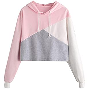 Xjp Patchwork Long Sleeve Hooded Pullover Sweatshirt for Teen Girls (L, Color A)