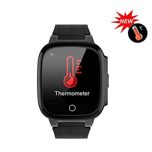 Smartwatch, Waterdichte Temperatuurarmband-Tracker, 4G-Polsbandje Voor Kinderen Met Mobiele Positionering, Selfie-Afstandsbediening, Gezondheidsmonitoring, Alarmfunctie,Black