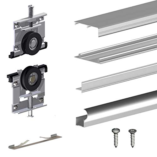 Schiebetürbeschlag SLID'UP 230, 270 cm, 19 mm, 3 Türen bis 70 kg, silber, für Schränke, Kleiderschränke, Wandschränke