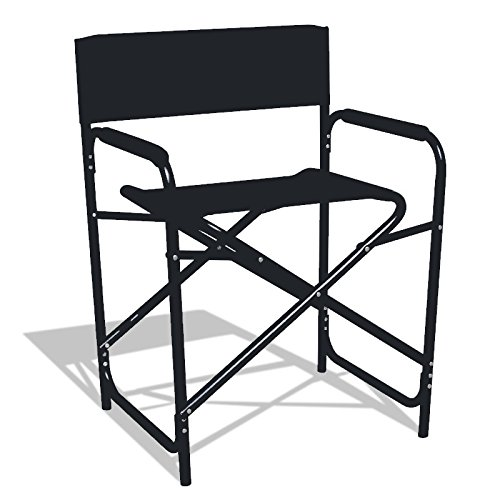 "Standard Camping Directors Chair Makeup Folding Artist Chair Outdoor Heavy Duty Aluminum Frame with Black Canvas 22""W x 31""H x 17""D"