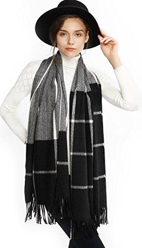 Women Cashmere Wool Scarf Pashmina Shawl Wrap Winter Warm Plaid Blanket Black