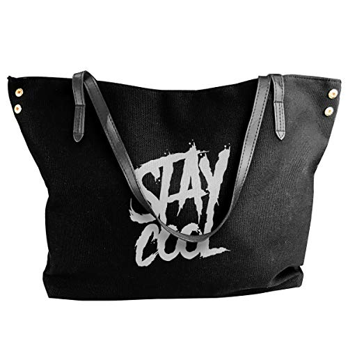 Happiness Station Stay Cool Graffiti Women Style Canvas Large Tote Top Handle Bag Shopping Hobo Shoulder Bag, Large Size 18.1'' X 4.9'' X 12.99''