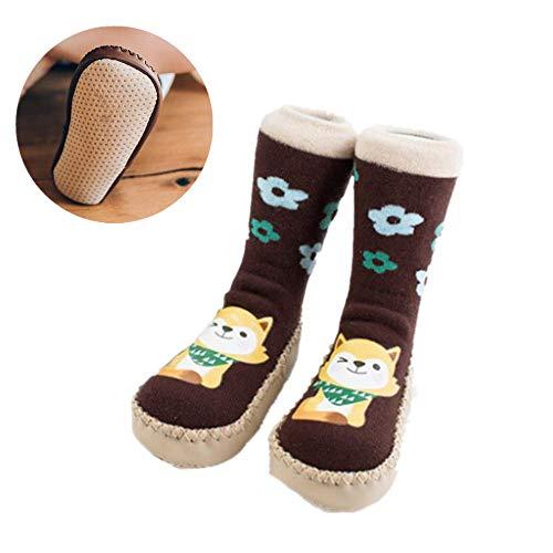 Kindervloersokken Anti-slip met rubberen zool, Peuter Baby Jongen Meisje Slippers Sokken Cartoon Animal Print,Grip Sokken voor Kerstmis Verjaardagscadeau