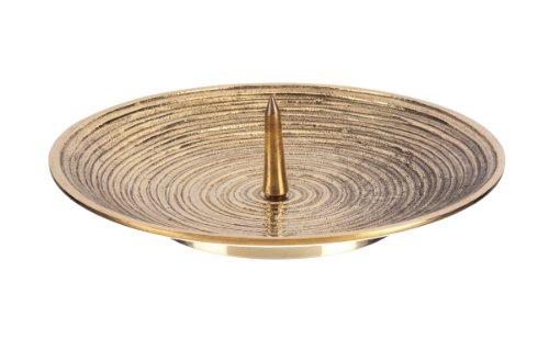 Kerzenteller Spiral Design Messing Gold mit Dorn für bis Ø 10 cm Kerzen