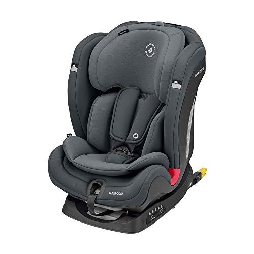 Maxi-Cosi Titan Plus Seggiolino Auto ISOFIX 9-36 Kg Reclinabile, per Bambini 9 Mesi -12 Anni, Gruppo 1 2 3, Regolazione Automatica Temperatura Seggiolino, Grigio(Authentic Graphite)