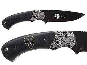 "Elk Ridge ER-200-09-BK 4"" Fixed Blade Hunting Knife Damascus Bolster Black Pakkawood Handle with Leather Sheath - Choose Your Design from NDZ Performance"