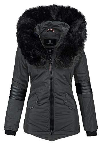 Navahoo Damen Winter Jacke Designer Parka Kunstfell Winterjacke B369 [B369-Nirvana-Anthrazit-Gr.XL]