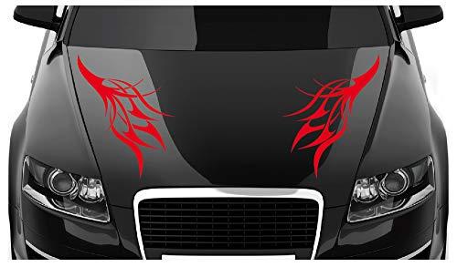 Motiv 2405_47 – 40 x 24 cm (2 Stck) Aufkleber für Motorhaube oder Heckscheibe - Autodekor Autoaufkleber Car Tattoo Auto Tribal rot