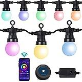 ANVAVA Guirnaldas Luces Exterior IP65 Impermeable Cadena de Luz LED Inteligente Cadena de Bombilla Compatible Alexa, Google Assistant, para Fiesta Decoración Jardín Terraza Patio Bar, 15 RGB Bombillas