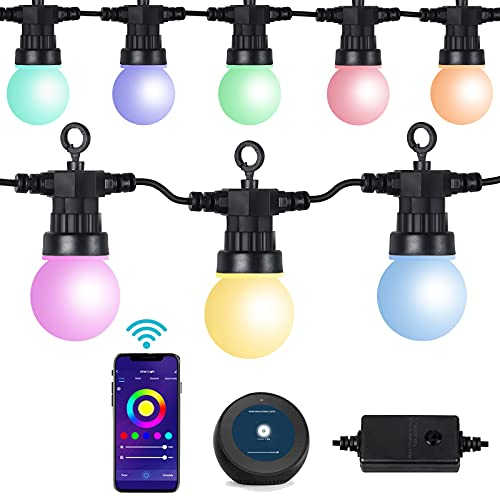 ANVAVA Guirnaldas Luces Exterior IP65 Impermeable Cadena de Luz LED Inteligente Guirnaldas Luces Compatible Alexa, Google Assistant, para Fiesta Decoración Jardín Terraza Patio Bar, 15 RGB Bombillas
