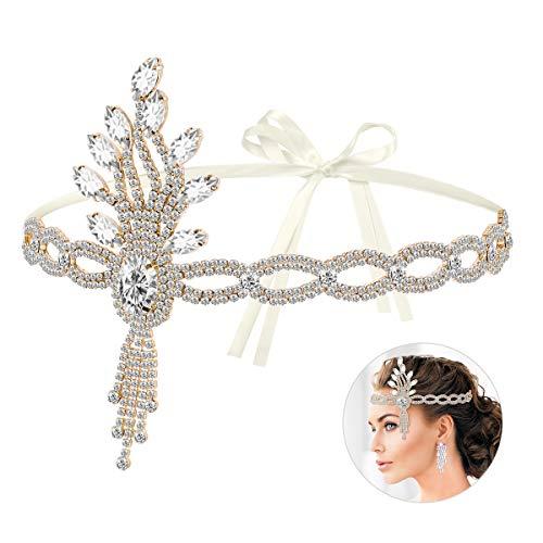 Lurrose, set di accessori per capelli, da donna, in stile vintage anni '20, con cristalli