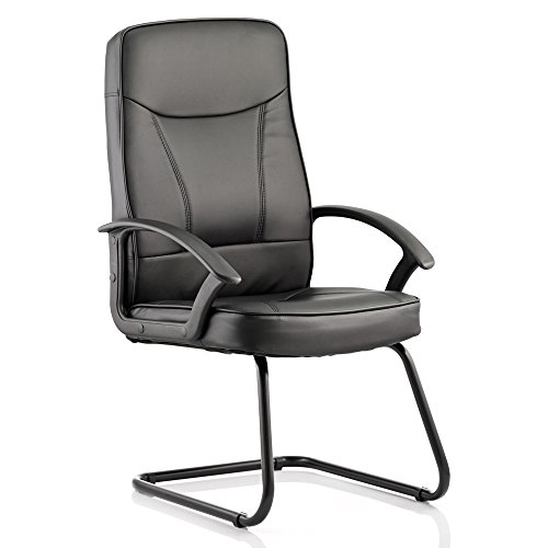 Dynamic Blitz Visitor Freischwinger Bonded Leder Stuhl mit Armlehnen, schwarz
