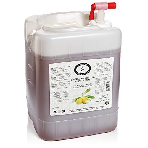Carolina Unscented Castile Soap Liquid – Skin-Softening Olive Oil Soap Organic Body Wash – Pure Castile Soap Unscented Liquid Soap – Vegan Castille Soap Liquid (5 gallon)