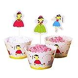XiaoOu Estuches para Magdalenas 24 unids/Lote Bandera para Tartas Cup Cake Muffin Envoltorio de Papel para Suministros de Fiesta de cumpleaños Bandeja para Muffins Antiadherente, Princesa