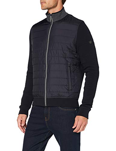 Bugatti Herren Sweat-Shirt Jacke Strickjacke, Marine, L