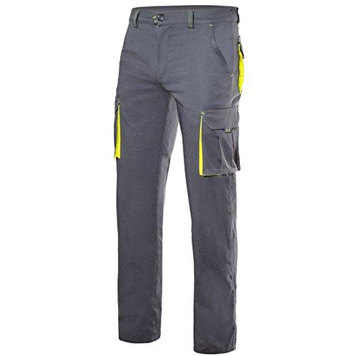 Velilla 103008S/C8-20/T38 Pantalones, Gris y amarillo fluorescente, 38
